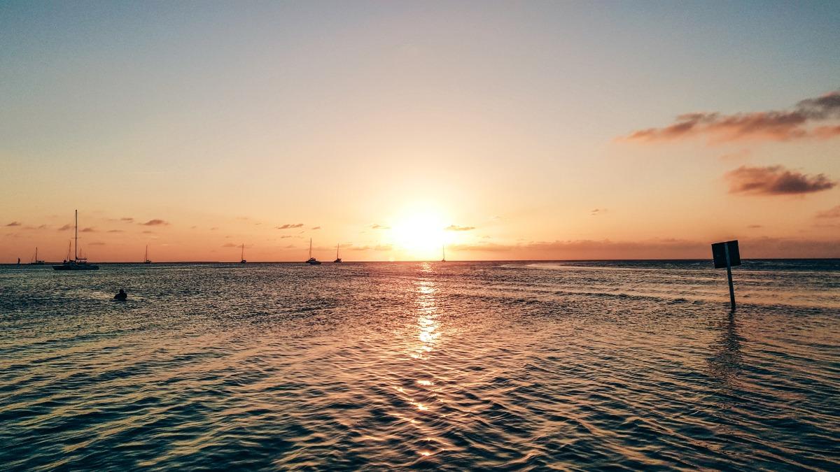 Belize Caye Caulker zonsondergang