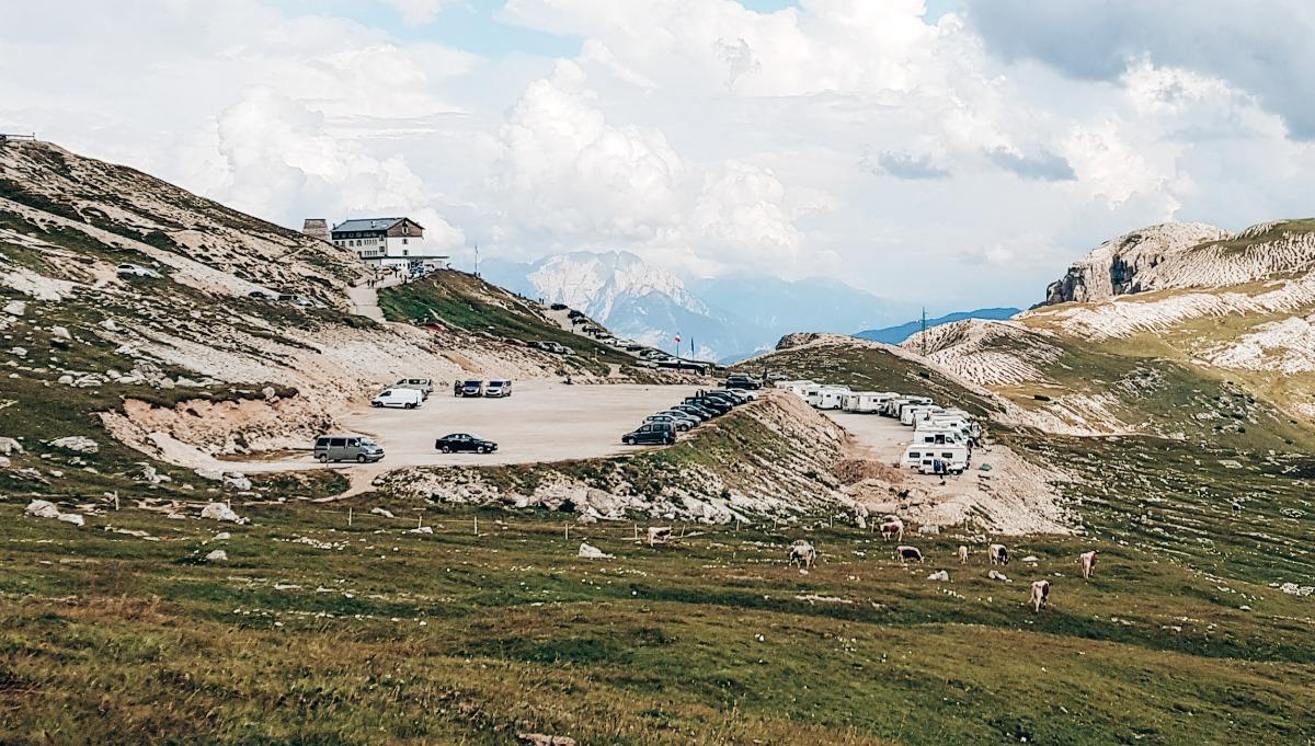 Dolomieten Auronzo parkeerplaats