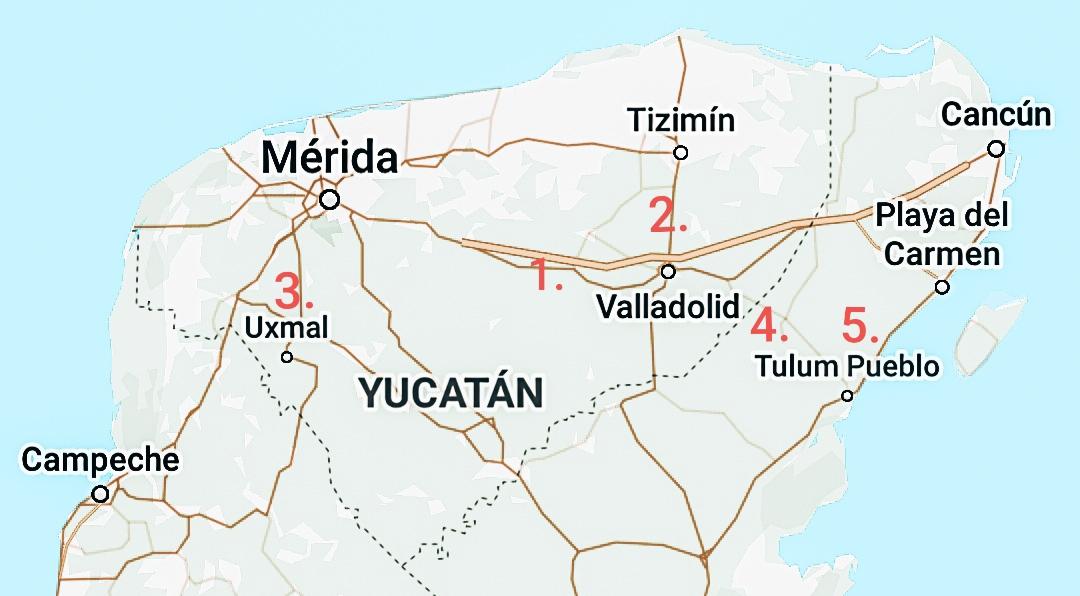 Mexico Mayasteden plattegrond