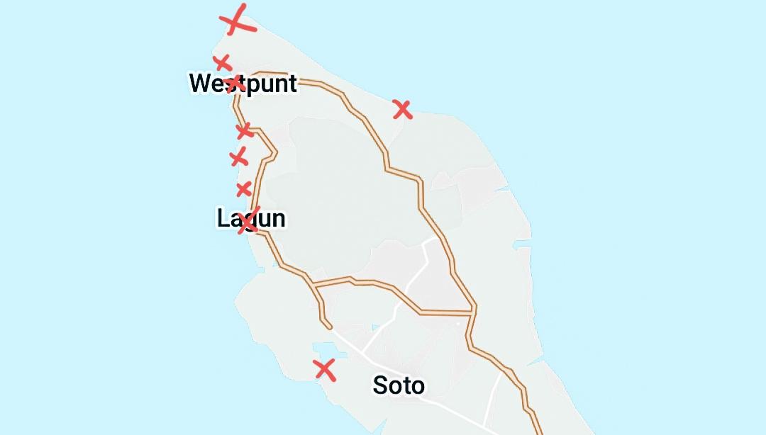 Kaart Westpunt Curaçao